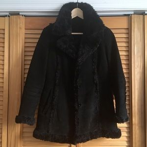 Wilson's Leather real suede and faux fur coat